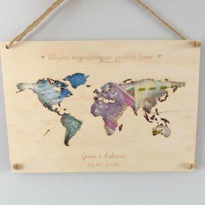 Mapa świata na ślub